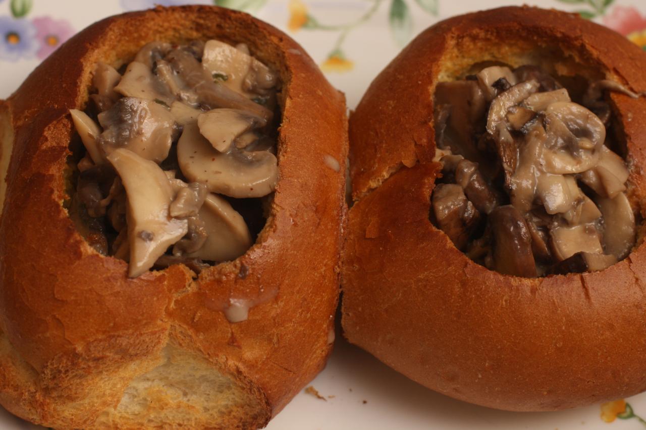 Mushrooms in batches